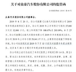 众泰汽车因未及时披露半年度业绩预告,收到深交所监管函
