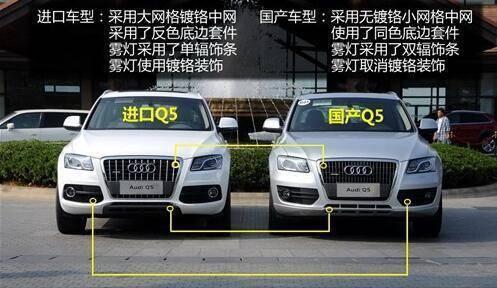 进口奥迪q5和国产奥迪q5 从细节部分能够区分进口和国产的分别